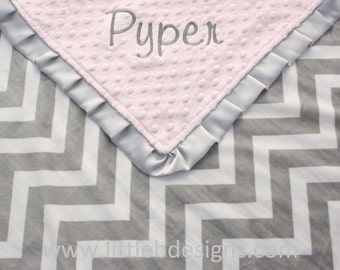 Personalized Baby Blanket - Gray and White Chevron Minky and Light Pink Minky with Ruffled Edge