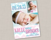 Wide Chevron Multi-Photo Birth Announcement (PRINT YOUR OWN) for boy or girl