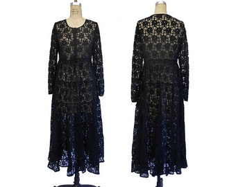 Vintage Beaded  Black Lace Dress  GOTHIC NOIR STEAMPUNK Gypsy Boho Coachella Festival