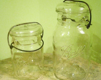 2 Vintage Ball Canning Jars with Wire Bale Closures and Glass Lids