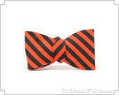 The Hocus Pocus - Black and Orange Striped Bow Tie