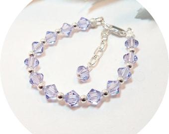 Bracelet, Purple Bracelet, Lilac Bracelet, Violet Bracelet, Flower Girl Jewelry, Pageant Jewelry, Kids Jewelry. Toddler Jewelry