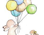 Children Art Print. Balloons for Bunnies BOYS. PRINT 8X10. Nursery Art Wall Decor