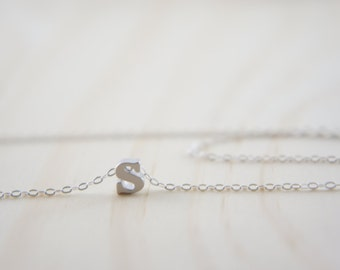 "Silver Letter, Alphabet, Initial  ""s"" necklace, birthday gift, lucky charm, layered necklace"
