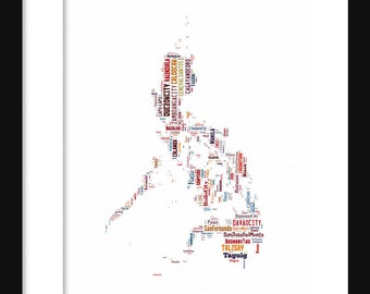 Philippines  Map Typography Color Map Poster Print Text Map