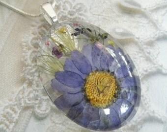 Denim Blue Daisy,Wispy Grass,Purple Alyssum,Queen Anne's Lace,Lobelia, Pressed Flower Oval Glass Pendant-April's Birth Flower-Gifts For 30