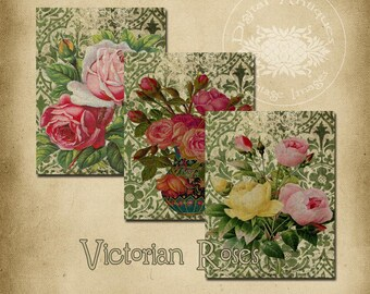 Victorian Roses Backgrounds Instant Digital Download