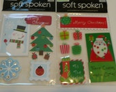 SANTA SNOWMAN CHRISTMAS Soft Spoken Scrapbooking Supplies stickers - Tree, Snowflakes, Presents