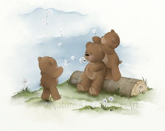 8 x 10 Childrens Wall Art Teddy Bear Print, Girls Nursery Wall Decor, Blowing Dandelions (243)