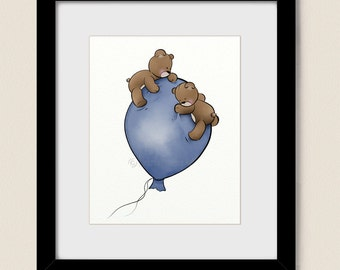 Blue Boys Nursery Wall Art, Balloon Childrens Art Print 8 x 10, Teddy Bear Babys Room Decor (272)