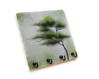 Green Tree Wall Decor 4 Hook Key Rack, Decorative Tile Wall Key Holder Jewelry Organization, Key Hook (54)