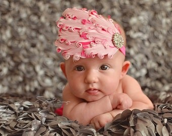 Baby Girl Headband Pink and Hot Pink Feather Headband with Rhinestone Accent
