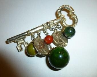You Hold the Key to My Bakelite Heart.  Vintage Dangle Bakelite Brooch.