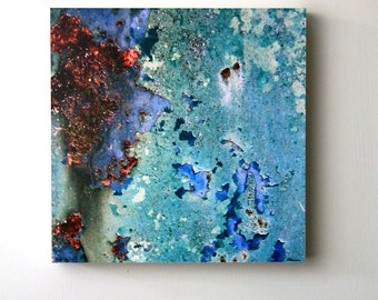 Blue, Rust, Texture, Modern Abstract Art, Living, Room, Bedroom, Photography, 10X10 Wood Panel, Home Decor, Ready to Hang, Wall Hanging