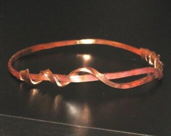 Copper Twisted Vine Bangle Bracelet