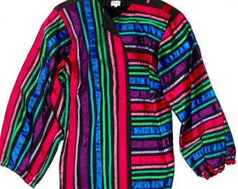 VINTAGE Tachi CASTILLO jacket handmade Mexico, ribbons,multi color red,pink,royal blue,green,black,size L