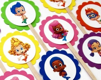 Bubble Guppies Cupcake Toppers . Bubble Guppies Cake Toppers . Bubble Guppies Birthday Party .  Set of 12