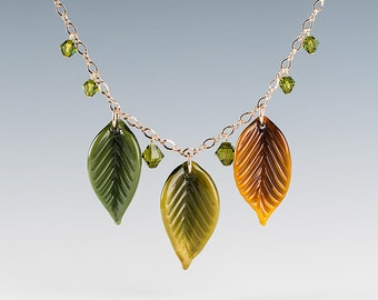 Leaf Necklace, Beech Leaf Glass Sculptures and crystals, lampwork beads on gold filled chain.  Leaf jewelry.