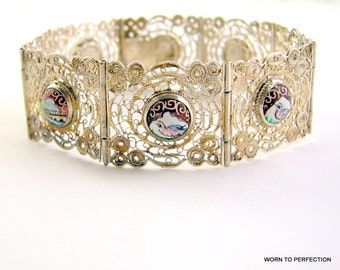 Vintage Persian Storytelling Filigree Wire Work Bracelet with Painted Birds and Flowers