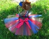 Cowgirl Tutu- Girls Western Tutu- Cowgirl Costume- Toddler Western tutu- Blue, Red , and Brown tutu- Cowgirl Birthday