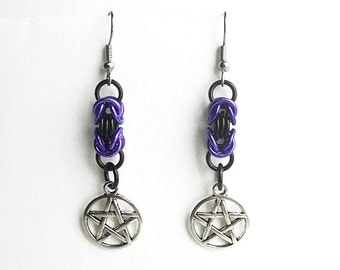 Pentagram earrings, Pagan jewelry, Wiccan jewelry, Purple and black chainmaille, Byzantine weave
