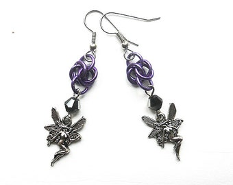 Faerie earrings, Fairy earrings, Gothic jewelry, Chainmaille Byzantine weave, Purple, black, and silver