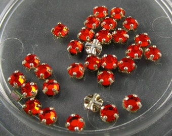 Vintage Rose Montee  3.5mm Orange Swarovski