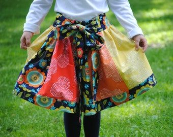 Girl's skirt, Toddler Skirts, Children, Clothing, Patchwork skirt, Twirly skirt, Child Skirts, Red, Blue, Size 2 3 4 5 6 7 8