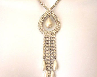 Vintage Rhinestone and Pearl Necklace Bridal Jewelry