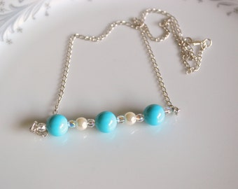Turquoise pearl and crystal sterling silver line necklace, pearl line necklace, bridesmaids jewelry, wedding jewelry