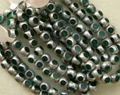 Green and Silver Window Cut 6mm Glass Beads 60% off, qty 75