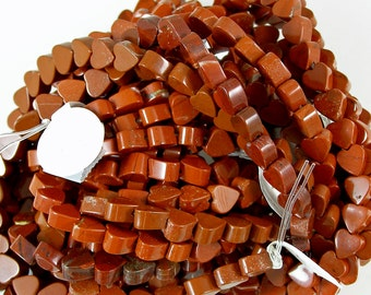Red Jasper Heart Beads 60% off, qty 69