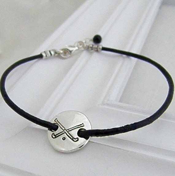 field hockey stackable bracelet sted silver charm