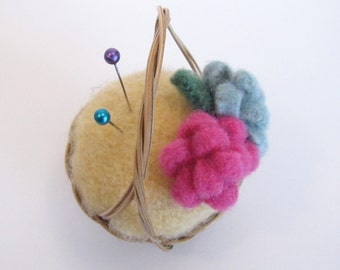 Wool Felt Pincushion, Eco Friendly Wool and Cashmere in a Natural Basket