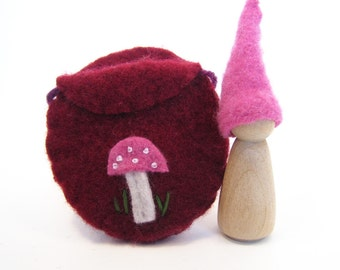 Pink and Red Toadstool Gnome, Waldorf Inspired Wooden Toy