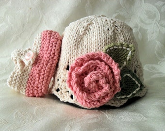 Baby Hats Knitting Knit Baby Hat Knitted Baby Hat with Rose Cotton Knitted Baby Hat  Baby Girl Clothing Knitted Lace Baby Hat