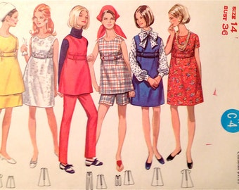 60s Maternity Wardrobe, Dress, Jumper, Tunic, Skirt, Pants & Shorts Vintage Sewing Pattern Butterick 5132 Size 14, Bust 36