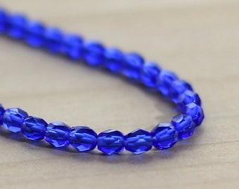 Faceted Cobalt Blue Beads 4mm Preciosa Glass Firepolished Czech Republic (16 inches)