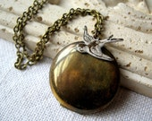Antiqued Locket Necklace, White Bird, Vintage Brass Locket, Bird Necklace, Antiqued Brass Chain