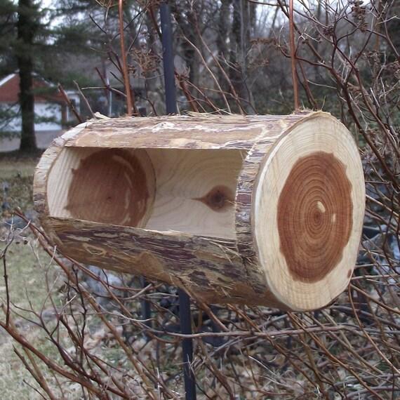 Cedar Log Bird Feeder Handmade From Reclaimed Tree Branch