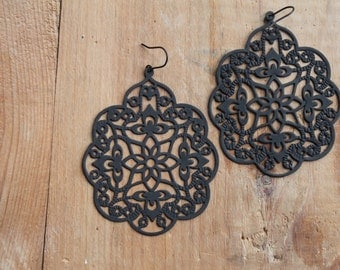 Madrid Black Filigree Lace Earrings