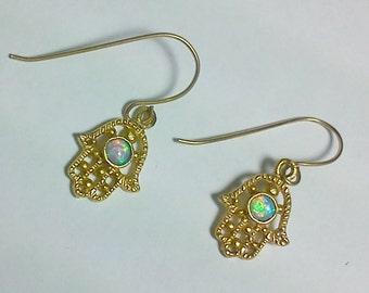 hand hamsa opal good luck symbol earrings