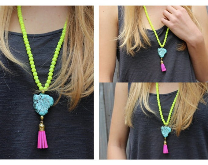Neon Yellow Beaded Statement Necklace with Turquoise Bead and Pink Tassel.