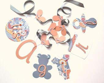 Autumn Baby shower decorations baby orange and grey paisley it's a girl banner by ParkersPrints on Etsy