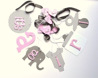 Elephant baby shower decorations Pink and grey chevron it's a girl banner by ParkersPrints on Etsy