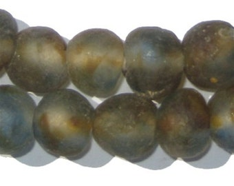 Beach Recycled Glass Beads from Ghana, 40 Beads (RCY-RND-MIX-539)