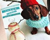 Tidings of Cheer and Good Fun Dachshund Christmas Hanukkah Holiday Card