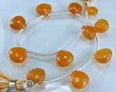 Sale -Carnelian Briolettes AAA Micro Faceted Carnelian Heart Briolette Beads