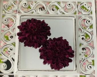 2 inch Pom Pom Mum Silk Flowers-----Plum Purple-----Set of 2