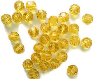 Swarovski Crystal Beads, Light Topaz, Round, 5000, 4mm, 16 Pieces, Circle, Sphere, New, Yellow, Bright, Austria, Crystal, Golden, Sun, New